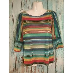 New Directions Women's Striped colorful top PM